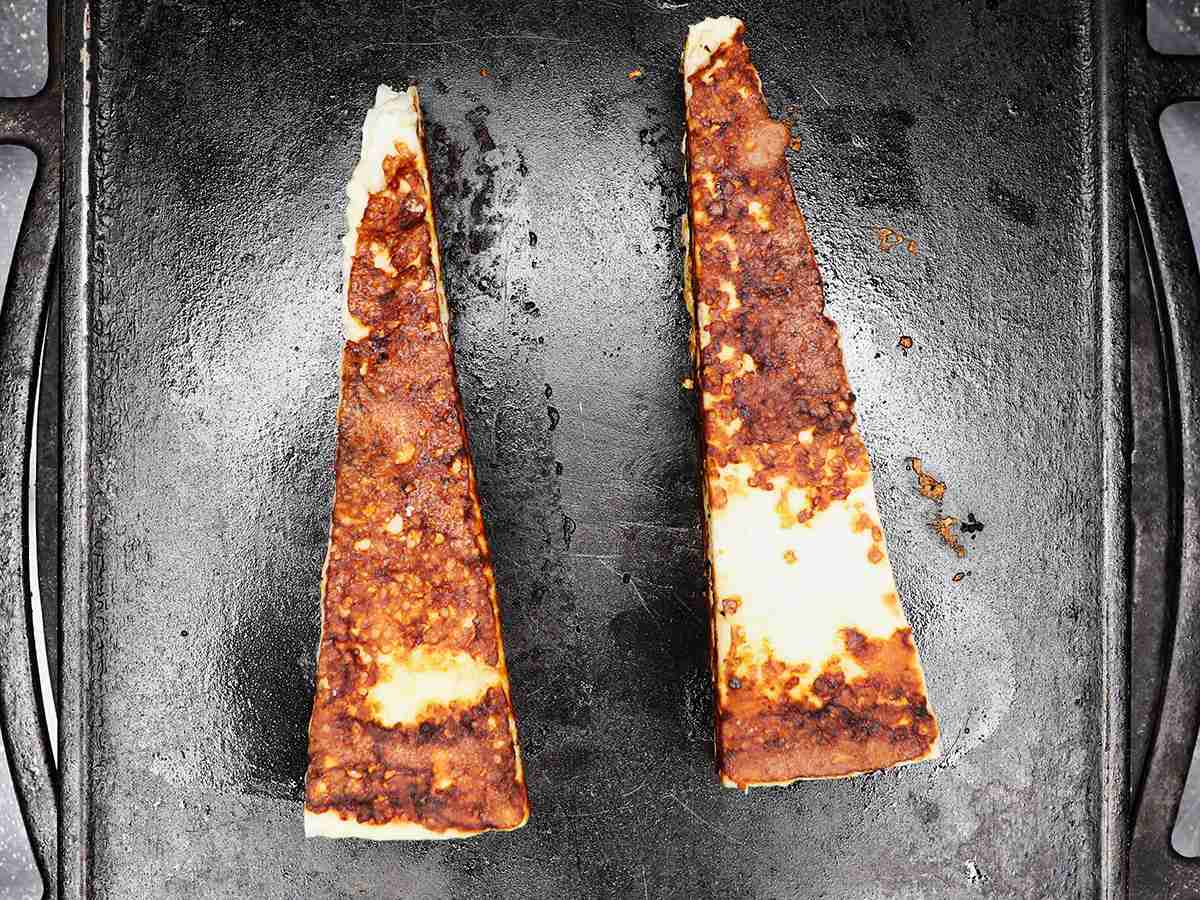 Toasted Cotija Cheese on Griddle