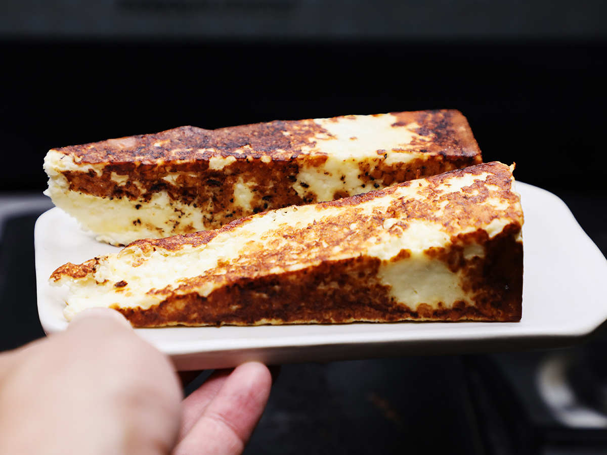 Toasted Cotija Cheese on Plate