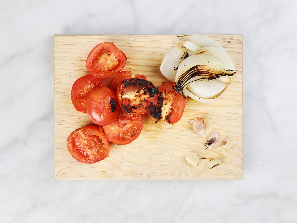 Charred Vegetables on Cutting Board