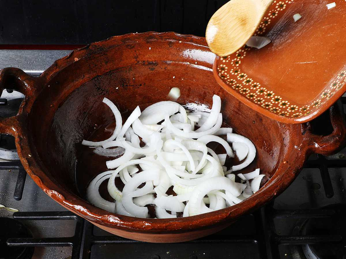 Sliced Onions in Pot