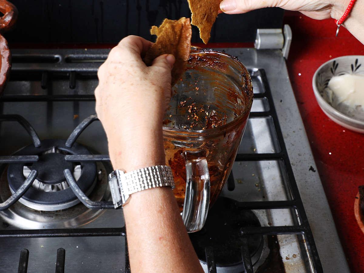 Placing Fried Tortilla in Blender