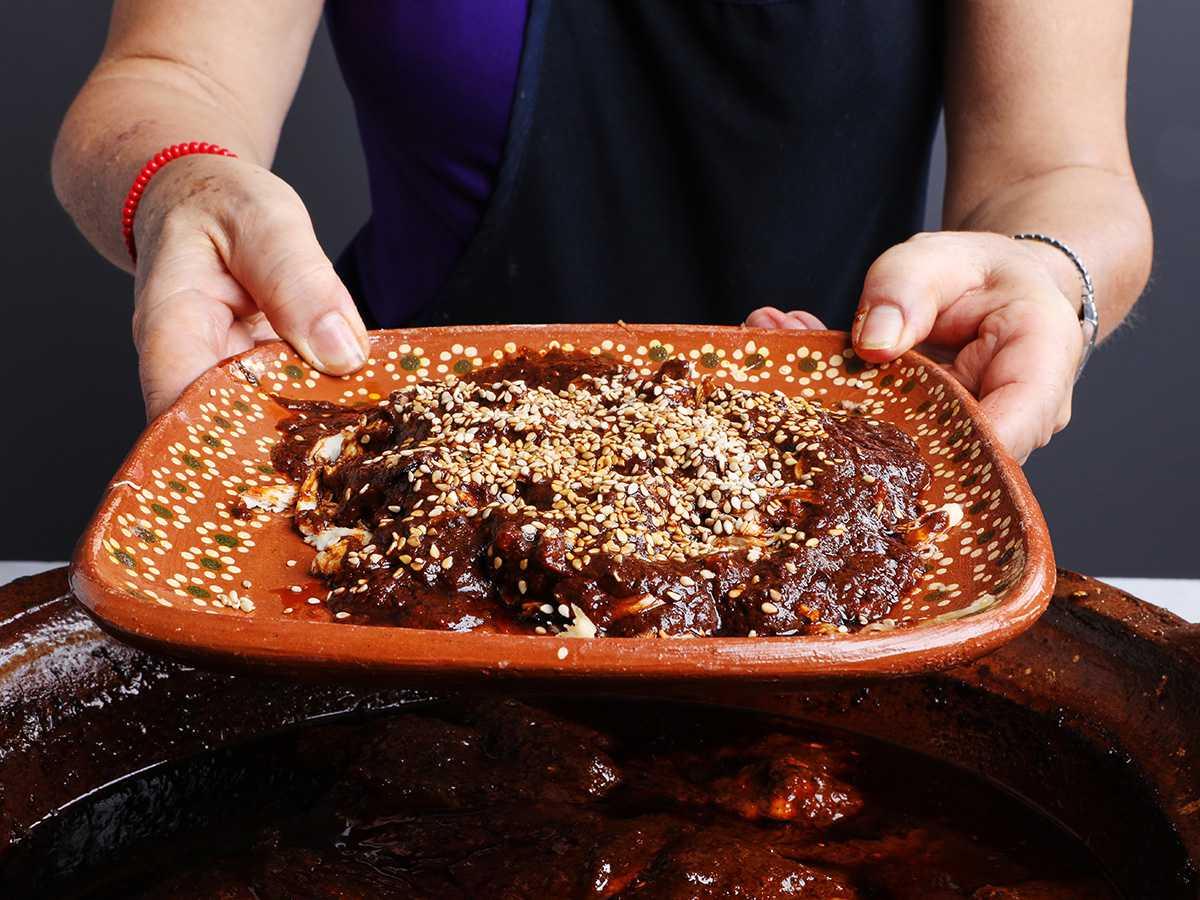 Mole Poblano with Sesame Over Shredded Chicken