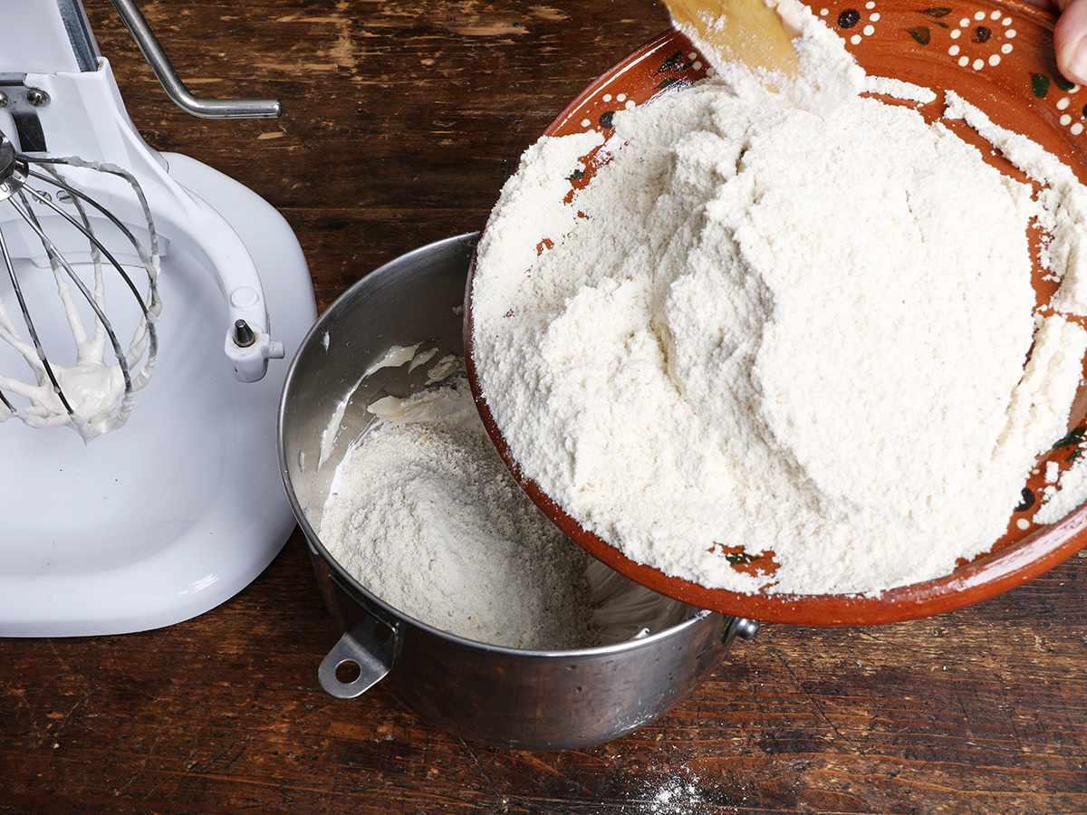 Adding Corn Flour to Bowl