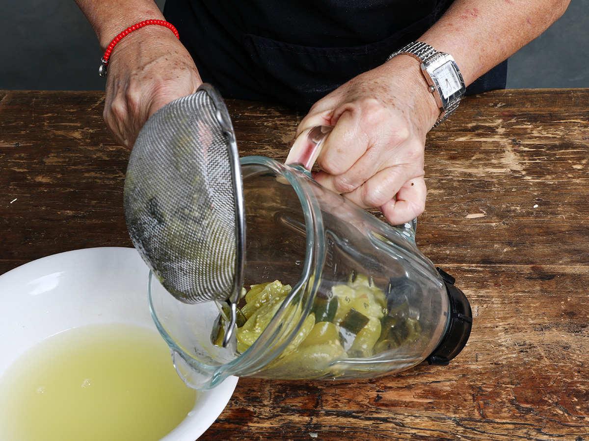 Pouring Veggies into Blender