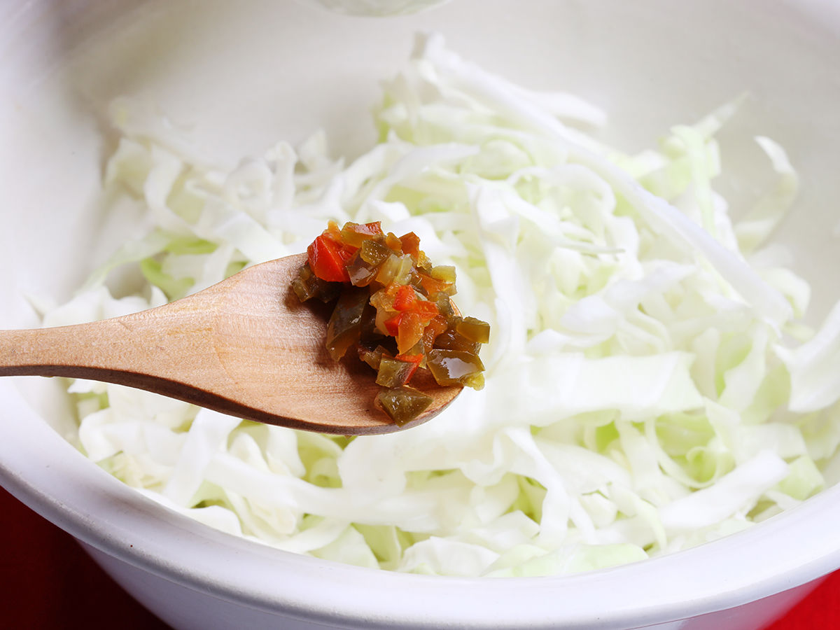 Chilies and Sliced Cabbage